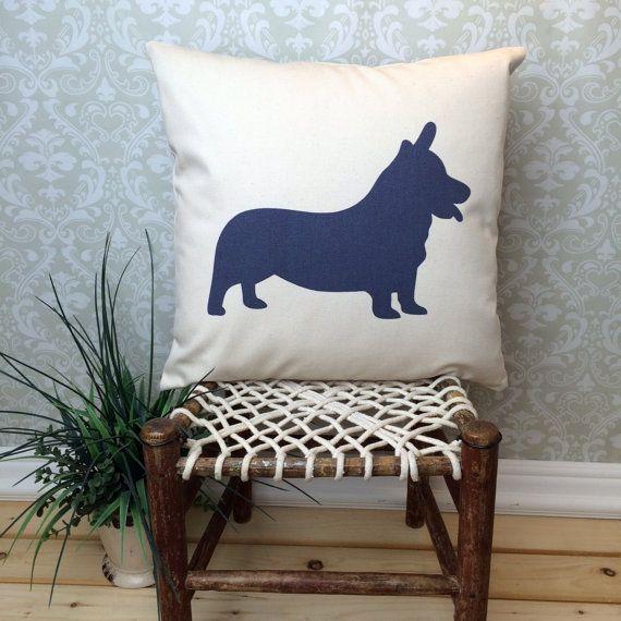 Corgi Pillow Cover, Corgi Art, Corgi Gift, Corgi Dog Silhouette, Corgi Dog, Dog Breed Silhouette, Pet Silhouette, Dog Silhouette