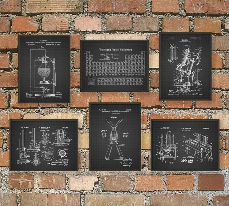 Science Patent Prints Set of 6 - Chemistry Wall Art - Periodic Table Microscope Laboratory Equipment Poster Set Of 6 - Chemist Gift Idea  The periodic table displays electronegativity values, first ionization energy, noble gas configuration and oxidation states. This set is printed using high quality archival inks on heavy-weight archival paper with a smooth matte finish. A fantastic gift for any Chemistry or Biology student or a fabulous addition to your office, home or dorm decor!  Please…
