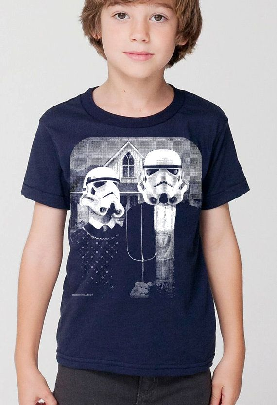 kids star wars storm trooper on boys childrens t shirt- american apparel navy,  2, 4, 6, 8, 10,12 year old sizes -WorldWide Shipping by missionthread