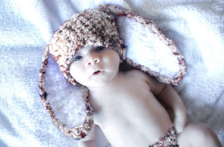 Speckled brown and cream unisex bunny hat for girls and boys, handmade with love by Babamoon https://www.etsy.com/babamoon/listing/181790605/0-to-3m-bunny-hat-newborn-rabbit-beanie  - Size 0 to 3m -   * Can be made in a choice of colours  * Can by made in sizes Preemie to Adult  * Eligible orders Ship for Free!   #etsy #accessories #hat #easter #easterbunny #bunnyears #babyhat #bunnyhat