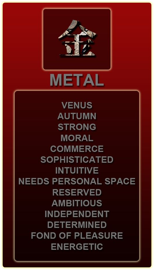 Chinese zodiac element of metal.