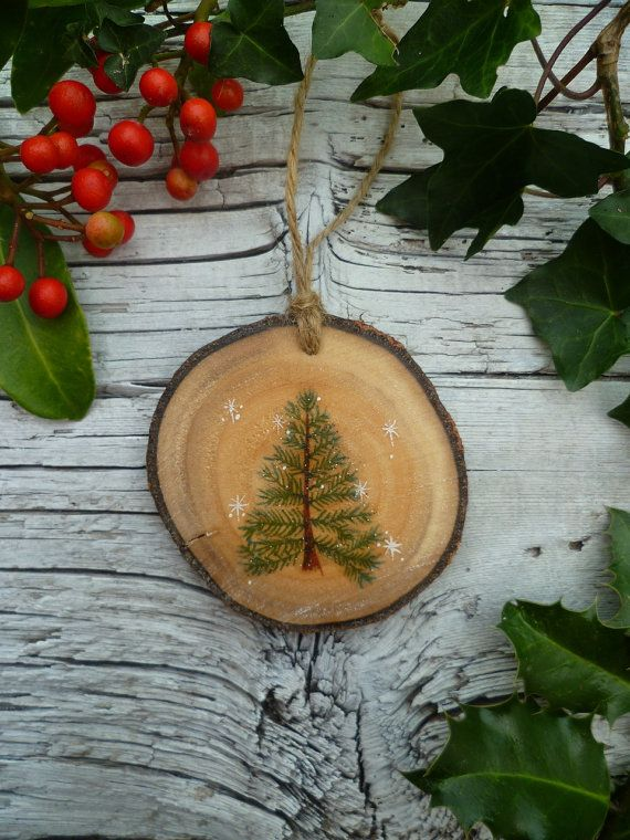 rustic christmas ornament winter fir tree by aliceceades