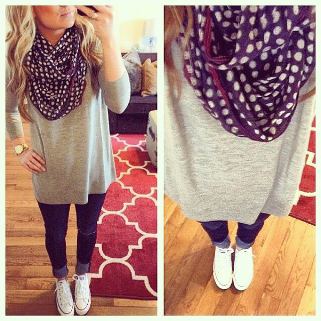 Style // Piko shirt // Skinny jeans // Polka dot infinity scarf // Converse