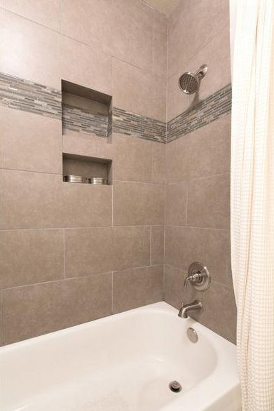 12 x 24 tile on bathtub shower surround bathroom guest pinterest shower surround tile and - Tile shower surround ideas ...