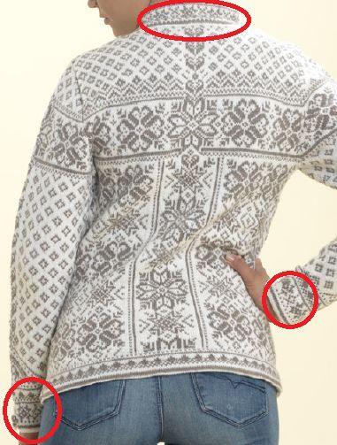Different knitting motifs on Dale Peace sweater pattern