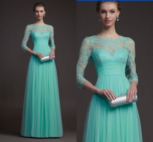 Empire Bateau Mint Green Tulle Lace Lique Sleeves Prom Evening