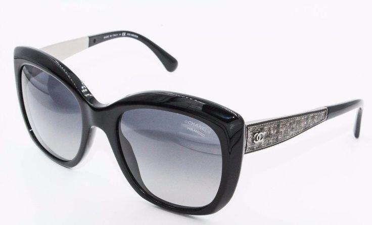 Chanel 5347a 501s8 black cateye bijou polarized