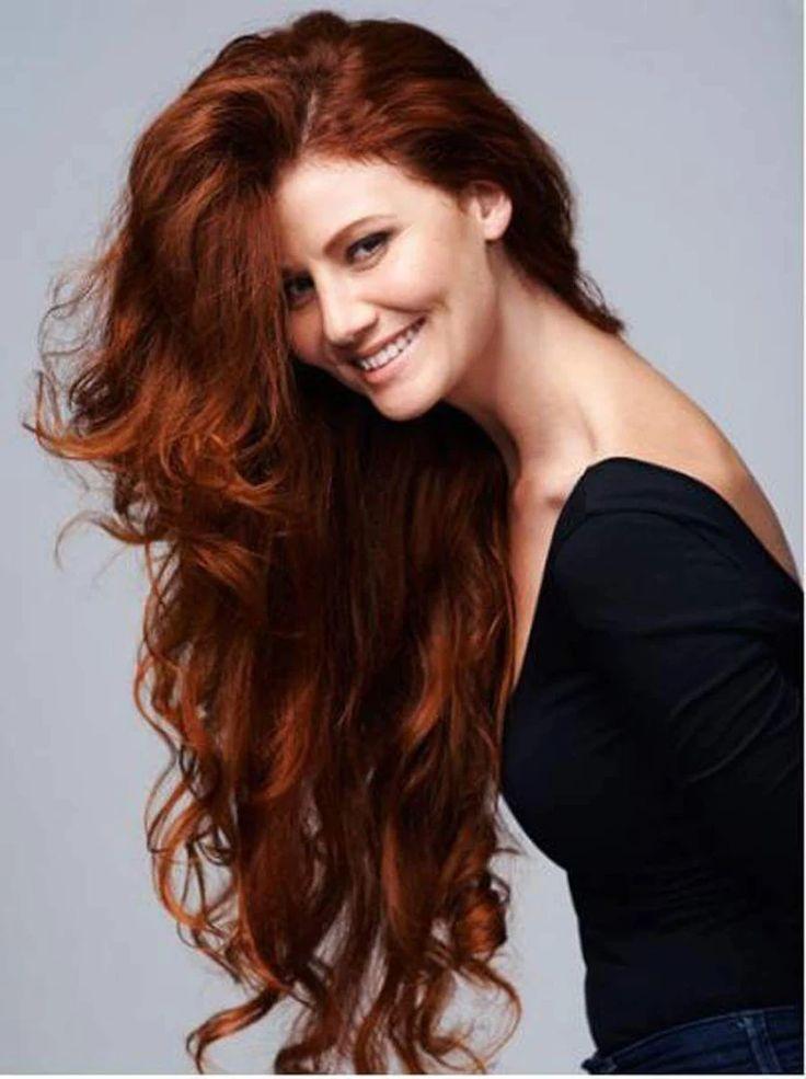 Long dark red brown hair