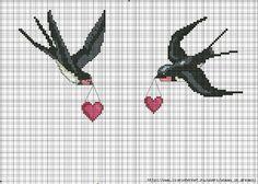 σχέδια με χελιδόνια για κέντημα / swallow cross stitch patterns