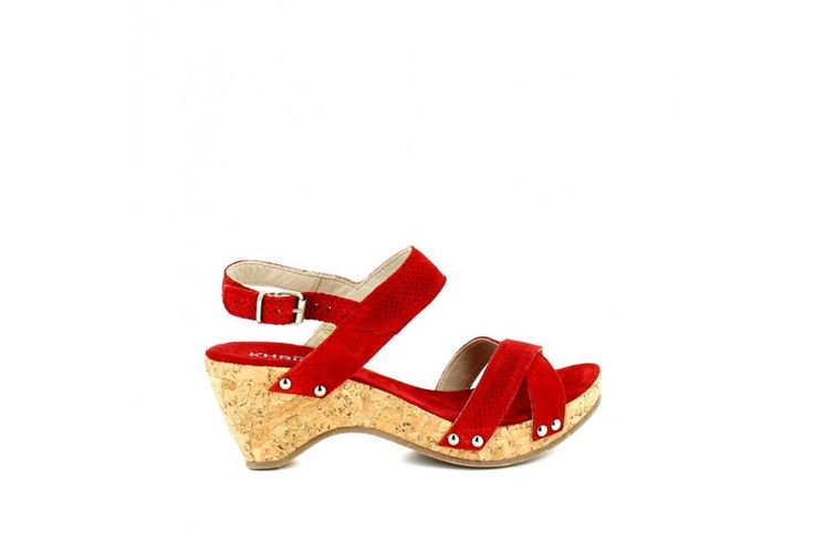 Saio Ciliegia   Sandal in real suede. Adjustable strap, wrapped wedge cork effect 7cm high, rubber sole