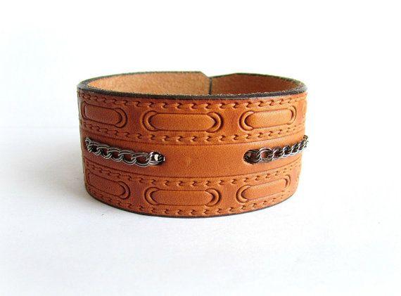 Men's leather cuff bracelet embossed pattern by Bravemenjewelry