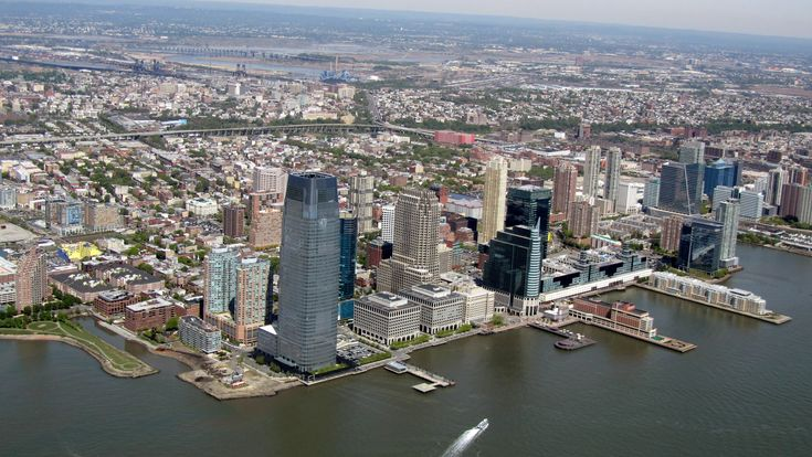 JERSEY CITY VIEWED FROM THE SKY.THIS PHOTO IS OF JERSEY CITY'S DOWNTOWN AREA LOOKING WEST TOWARDS THE NEW JERSEY TURNPIKE.