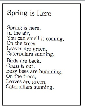 Poem - Fun Spring poems....good for Shared reading