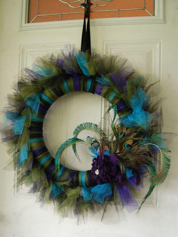 peacock I love this !!!: Peacock Feathers, Wedding Ideas, Peacock Tutu, Tutu Wreaths, Tulle Wreaths, Front Doors, Christmas Peacock, Peacock Colors, Peacock Tulle