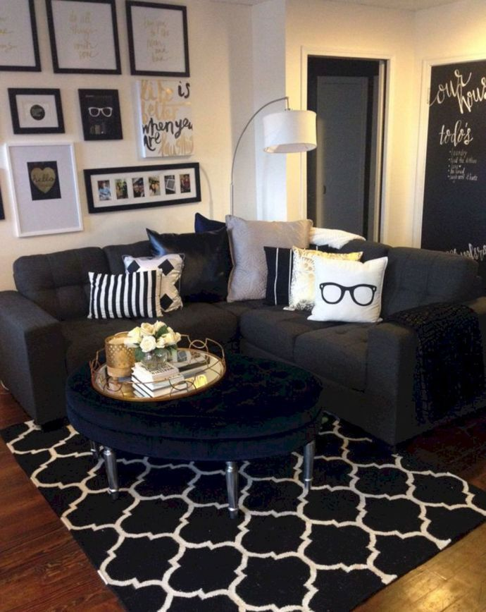 Black White And Gold Living Room Design 4 Apartment Decorating