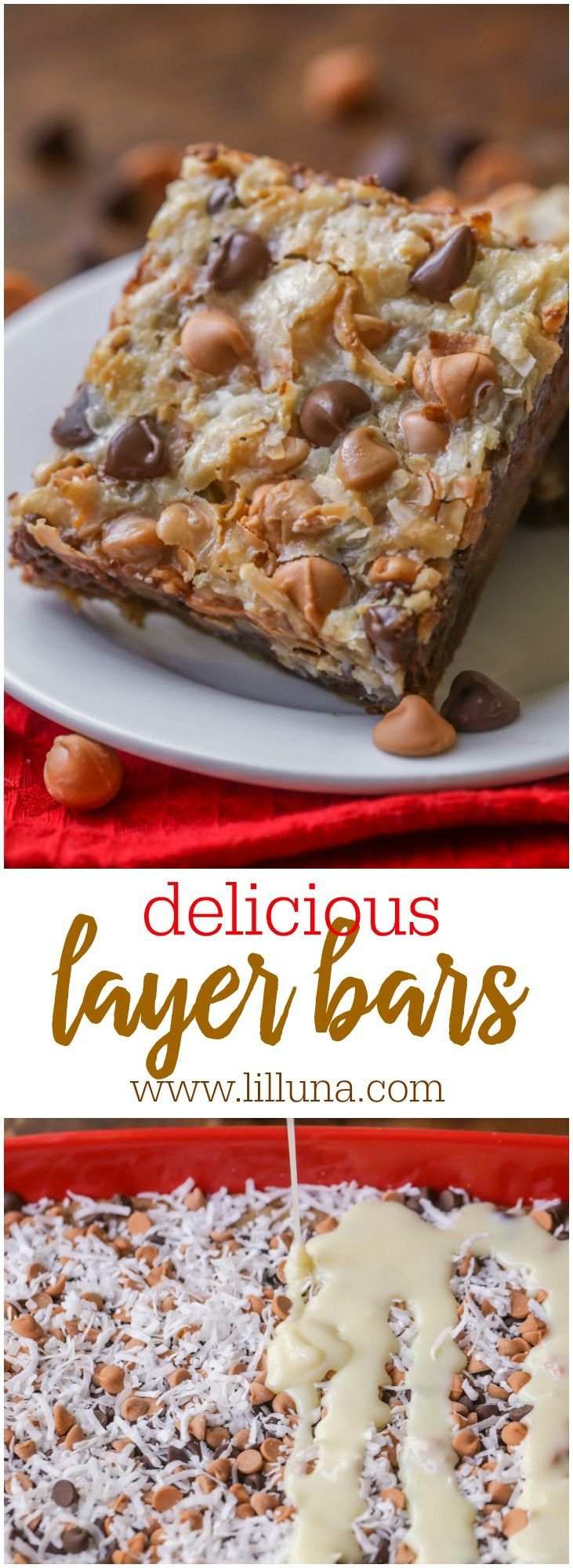 Luscious Layer Bars - a simple dessert idea topped with chocolate and butterscotch chips, coconut and sweetened condensed milk! { lilluna.com }