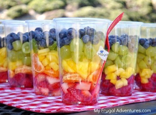 Rainbow fruit cups!