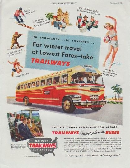 "1948 NATIONAL TRAILWAYS BUS SYSTEM vintage print advertisement ""For winter travel"" ~ To Snowlands ... To Sunlands ... For winter travel at Lowest Fares -- take Trailways ... Enjoy Economy And Luxury Too, Aboard Trailways Comfort-planned Buses ... Trailways Serves the Nation at ""Scenery Level"" ~"