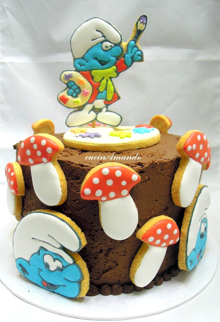 Smurf cake - Torta Puffo pittore
