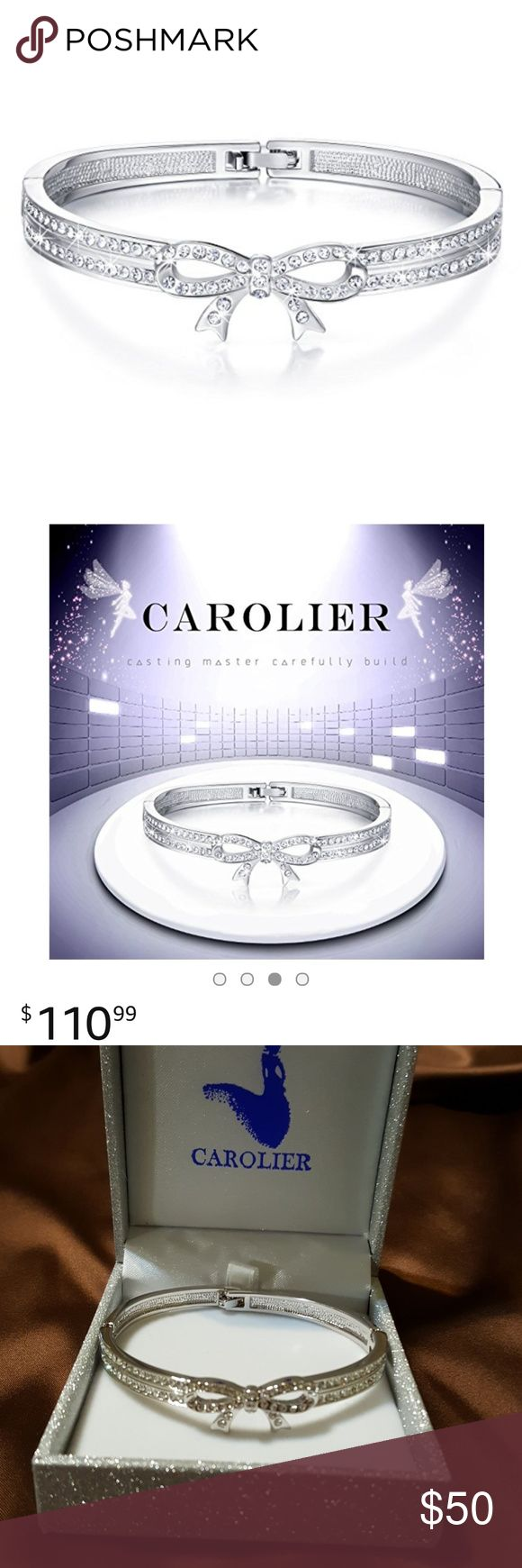 """New """"Carolier"""" Bow Tie Crystal Bangle Bracelet. Gorgeous Bow Tie bangle bracelet by Carolier. Stunning! Purchased from amazon.com for $110.99. Go to Amazon & look for yourself, they're still for sale. Rhodium, White Gold Plated, Zinc Alloy. Lead & nickle free. Crystals from Swarovski. Bangle measures 7"""" in circumference. Tongue & groove clasp. Son bought it for his g/f, decided to get her a Pandora instead. waited too long to return it. UGH! Trying to get some of his $ back for him. Look on…"""