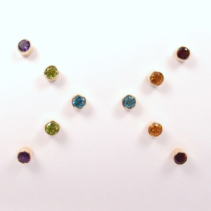 A burst of colour! New 9ct yellow gold rub-over gemstone studs in store at Hanne Andersen Jewellery. Such a beautiful, clean and easy way to add a pop of colour. Available in Amethyst, Peridot, Blue Topaz, Citrine and Garnet. Prices range between $342-$390.
