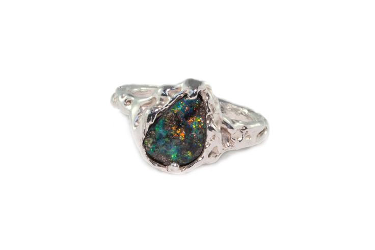 Handcrafted Holliegraphic Australian boulder opal ring in sterling silver.  http://www.holliegraphic.com/shop/galaxy-boulder Instagram @holliegraphic