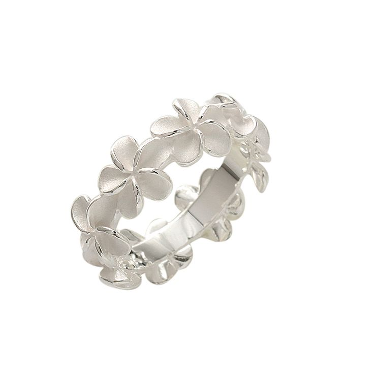 8mm Plumeria Lei Ring (L) - Makani Hawaii,Hawaiian Heirloom Jewelry Wholesaler and Manufacturer