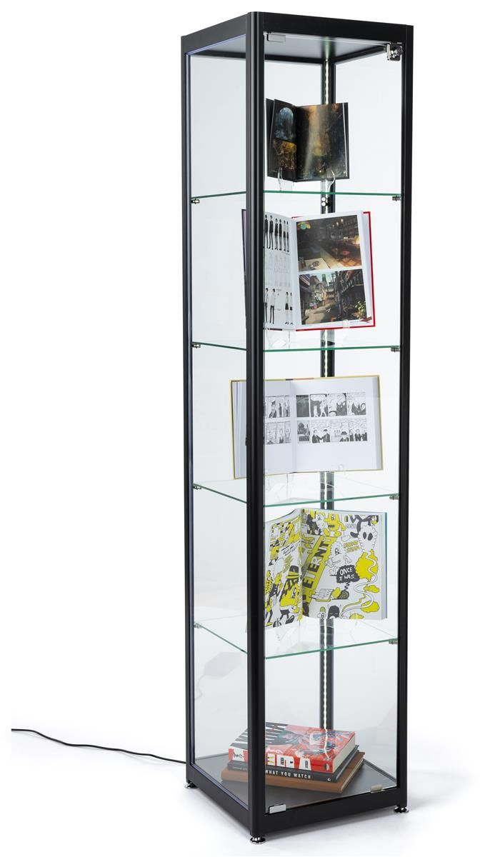 15 5 Gl Display Case Adjule Shelves Locking Ships Unembled Black In 2019 Showcases Curio Cabinets Floating
