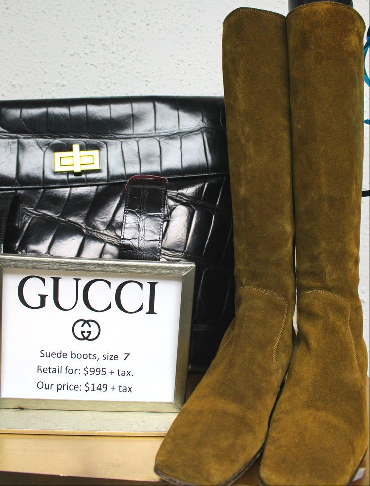 """Gucci boots, size 7 (fit 7.5 narrow). Dark """"gold"""" suede on the outside, gold leather lining on the inside. Simply fabulous and surprisingly versatile..."""