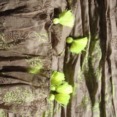 Moss Teal Antique Tassel Scarves Wholesale - HipAngels.com  #Teal_Moss_Scarves #Scarves_Quality_Scarves #Scarves_Wholesale_Indian