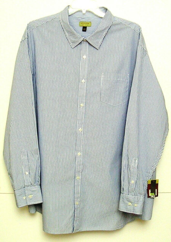 83eb76f51c9 NWT Sonoma Men's Dress Shirt 4XB White/Blue Stripes Button Front ...