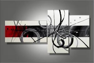 Tableau Triptyque Design Circles White