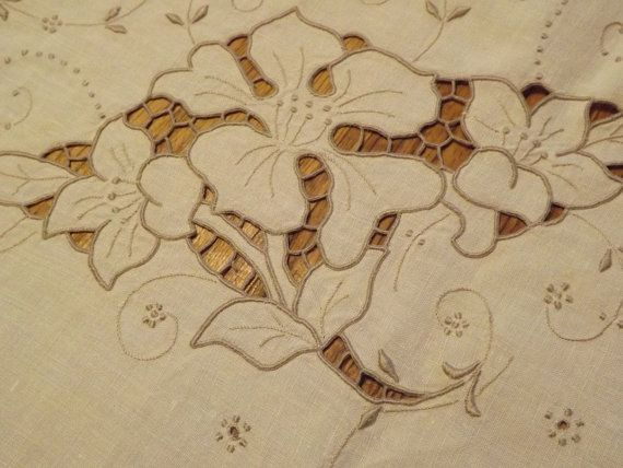 Antique Oblong Tablecloth With Elaborate by YesteryearEmbroidery