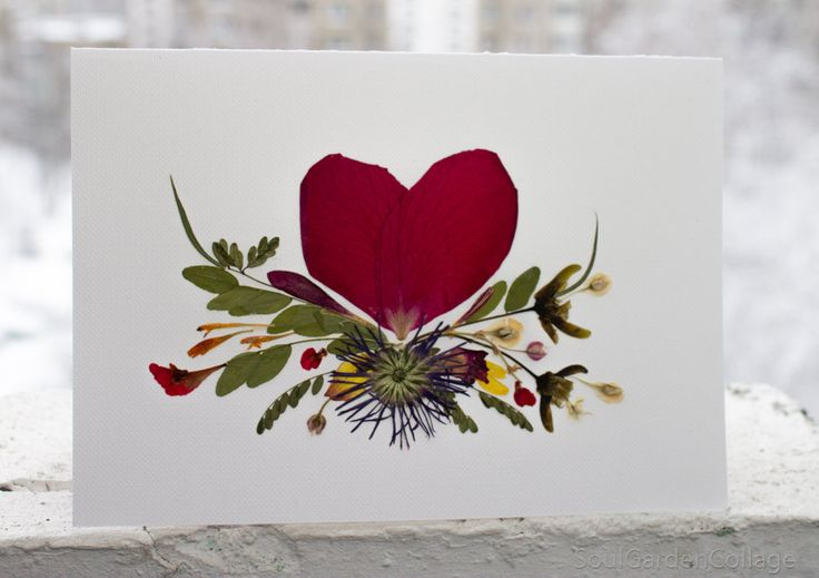 Valentines card Love card Greeting card Rose Handmade Unique Pressed flowers Herbarium Oshibana Collage by SoulGardenCollage on Etsy