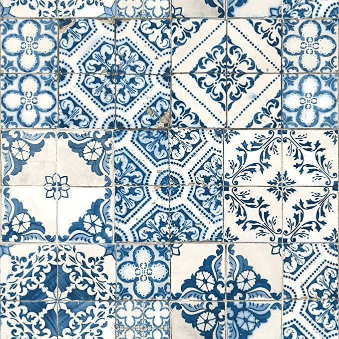 Roommates Rmk11083wp Peel And Stick Wallpaper 20 5 X 16 5 Feet Blue Mediterranean Tile Tile Wallpaper Wallpaper
