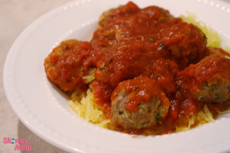 spaghetti squash with turkey meatballs, makes 6 servings, 210 cals per ...