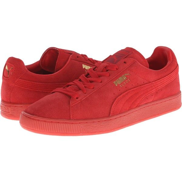 PUMA The Suede Classic+ Mono Iced (High Risk Red/Team Gold) Men's... ($40) ❤ liked on Polyvore featuring men's fashion, men's shoes, men's sneakers, red, puma mens shoes, mens suede shoes, mens sneakers, mens red sneakers and mens gold shoes