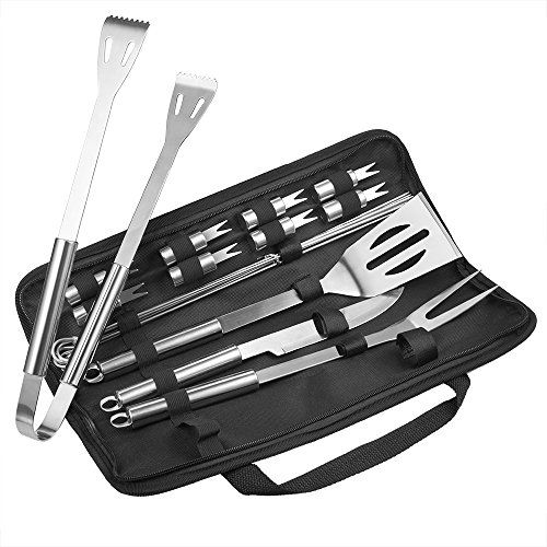 #Grill #Accessories, #TaoTronics #18 #Piece #BBQ #Tool #Set #Stainless #steel, #BBQ #Grill #Tools with #Waterproof #Storage #Bag, #BBQ #Tools With #Case, All in one, #FDA #Approved, #Strong and #Durable All in One: A 18-piece barbecue #tool #set comes with all the utensils you'll need for flipping, turning, cutting, and serving; 1 spatula, 1 fork, 1 tong, 1 knife, 6 skewers, and 8 corn holders included #Strong and Durable: Crafted from food grade #stainless #steel for enhance