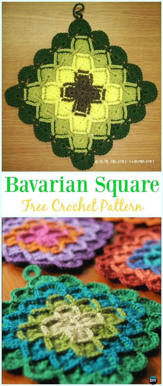 Crochet Bavarian Square PotholderFree Pattern Video - #Crochet; # Potholder Hotpad Free Patterns