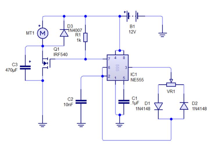 NE555 based PWM DC Motor Speed Controller Circuit with PCB ...
