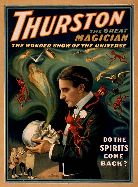 Howard Thurston (July 20, 1869 – April 13, 1936) was a stage magician from Columbus, Ohio. His childhood was unhappy and he ran away to join the circus. Thurston was deeply impressed after he attended magician Alexander Herrmann's magic show and was determined to equal his work. He eventually became the most famous magician of his time. Thurston's traveling magic show was the biggest one of all; it was so large that it needed eight train cars to transport his road show.