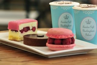 A selection of coffee and cakes available in the Garden Cafe at Buckingham Palace