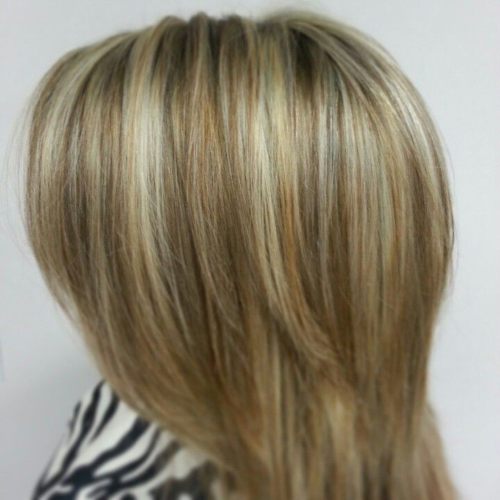 Medium brown with blonde and carmal highlights. By ...