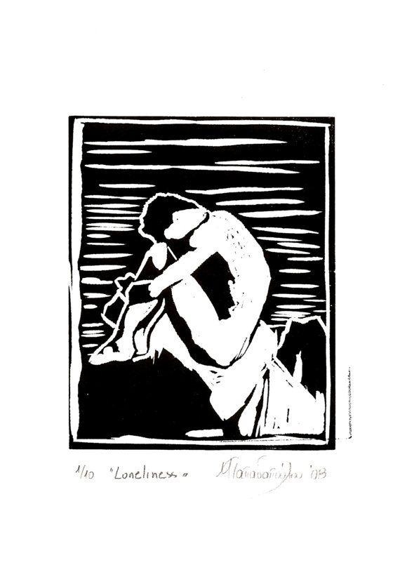 Loneliness,Original engraving 21x29cm