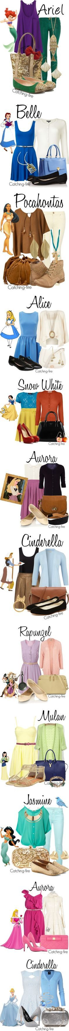 Disney Fashion!! Would be fun to wear these outfits on our trip to Disney land with the kids some day! :)