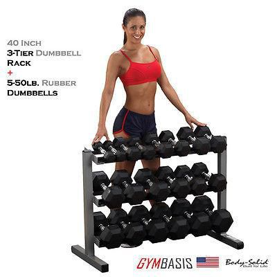 NEW Body-Solid GDR363 Rack with 5-50lb. Rubber Dumbbells