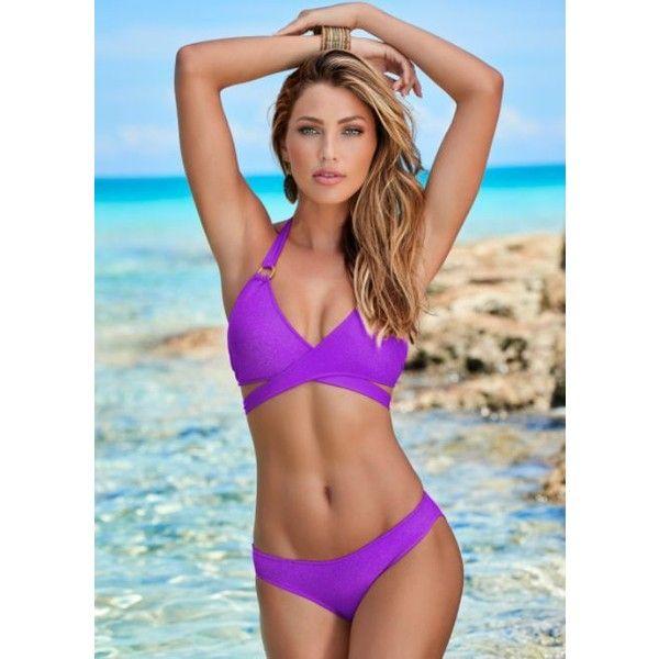 Venus Wrap Halter Bikini Top ($36) ❤ liked on Polyvore featuring swimwear, bikinis, bikini tops, halter neck bikini, swim tops, halter swimsuit tops, beach wear and beach bikini