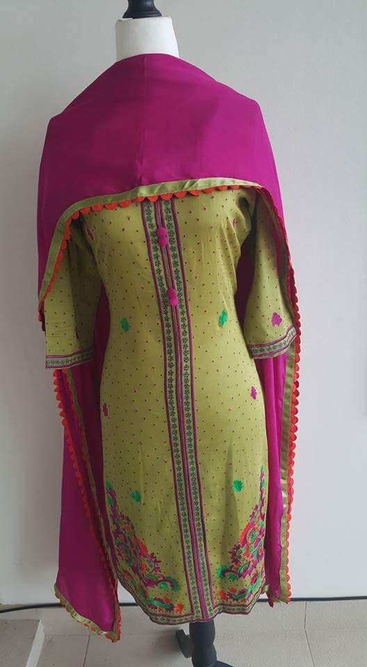 Machine Embroidered Pure Creap Suit in Beige Color with Magenta Bottom, With Pure Chinon Chiffon Dupatta