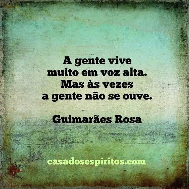 A gente vive muito em voz alta. Mas às vezes a gente não se ouve. - Guimarães Rosa