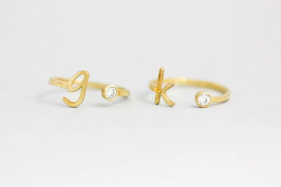 Personalized Initial Birthstone Ring, Custom Gold Ring, Personalized Ring, Anniversary Ring, Friendship Gift, Dainty Ring, for Her, SR0209